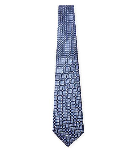 LANVIN Square-print silk tie (Blue