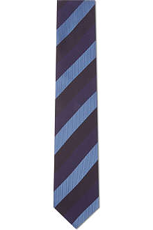 LANVIN Weaved bar stripe silk tie