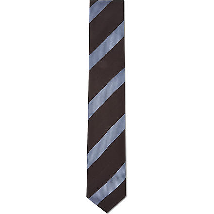 LANVIN Weaved bar stripe silk tie (Black/ navy
