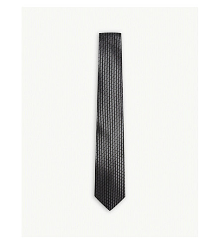 LANVIN Block-stripe and dot silk tie (Black