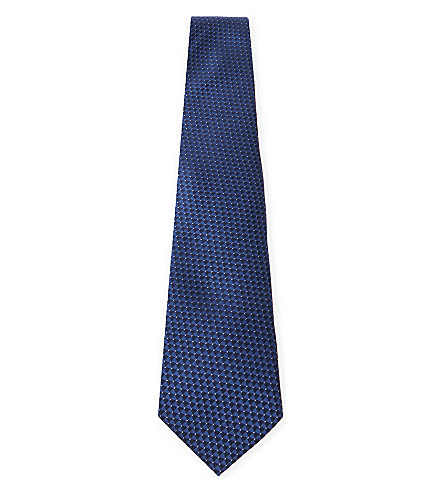 LANVIN Triangle and pindot silk tie (Navy