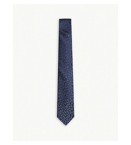 LANVIN Textured speckle silk tie (Navy