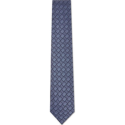 LANVIN Alternate patterned squares tie (Blue