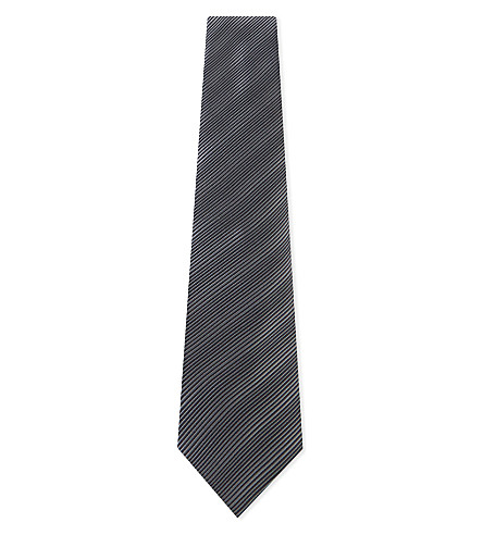 LANVIN Metallic fine diagonal stripes silk tie (Grey