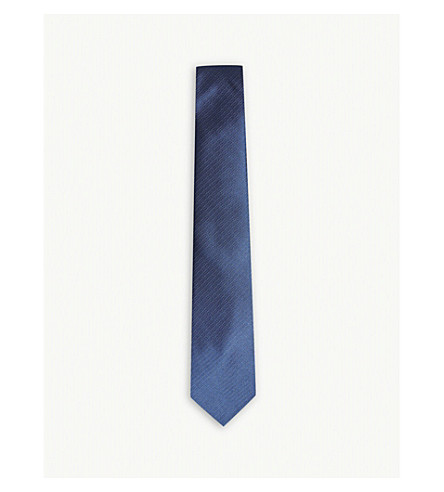 LANVIN Herringbone and spot silk tie (Blue