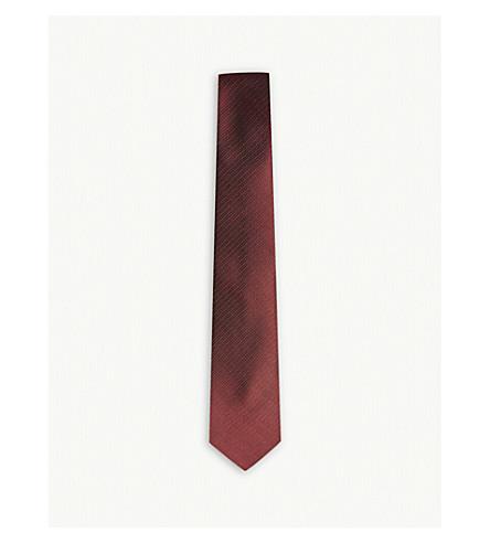 LANVIN Herringbone and spot silk tie (Red