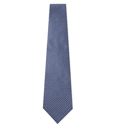 LANVIN Patterned silk tie (Blue
