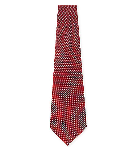 LANVIN Micro-dot silk tie (Red