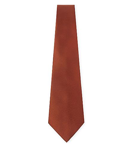 LANVIN Solid satin silk tie (Orange