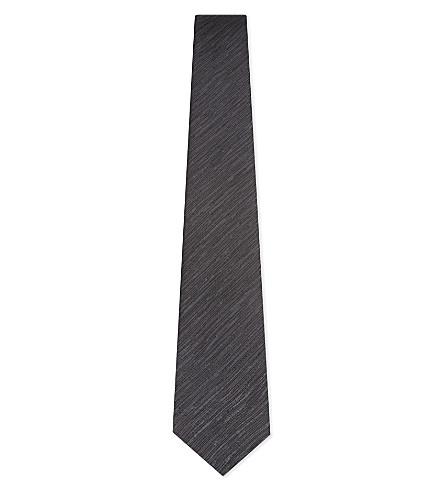 LANVIN Tonal diagonal pattern silk tie (Black