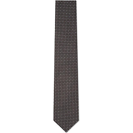 YVES SAINT LAURENT Patterned silk tie (Black