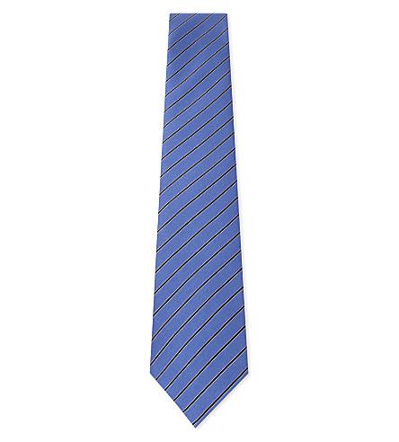 LANVIN Diagonal stripe silk tie (Blue