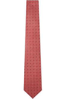 YVES SAINT LAURENT Logo letters silk tie