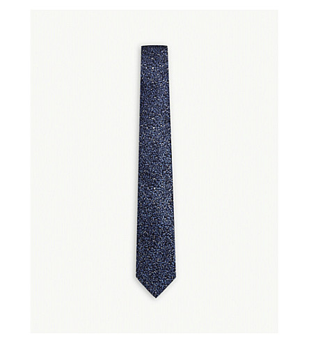 LANVIN Degrading flower silk tie (Navy
