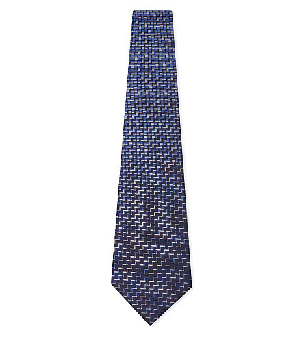 LANVIN Geometric pattern silk tie (Navy