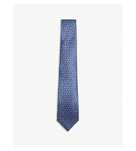 LANVIN Spot pattern silk tie (Blue