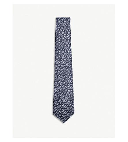 LANVIN Spot pattern silk tie (Navy