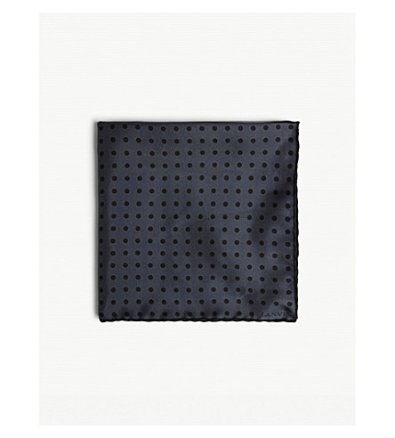 LANVIN Four-square polka-dot silk pocket square (Grey