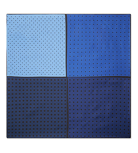 LANVIN Four-square polka-dot silk pocket square (Navy