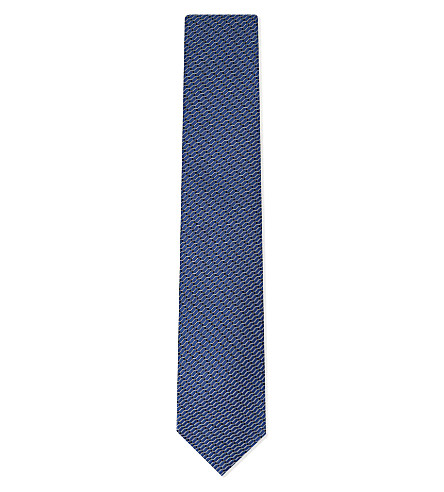 LANVIN Geometric diamond print silk tie (Blue