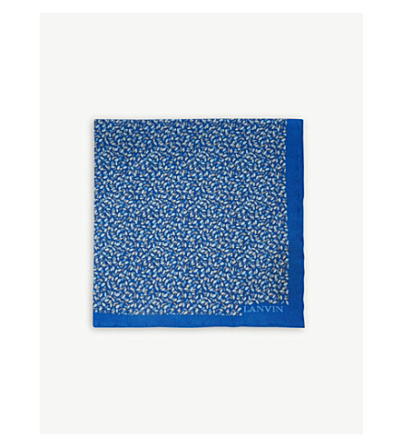 LANVIN Colour-block and polka-dot silk pocket square (Blue