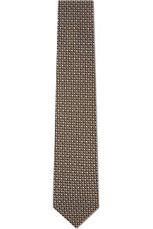 LANVIN Geometric triangles silk tie