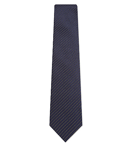 LANVIN Contrasting stripes silk tie (Navy