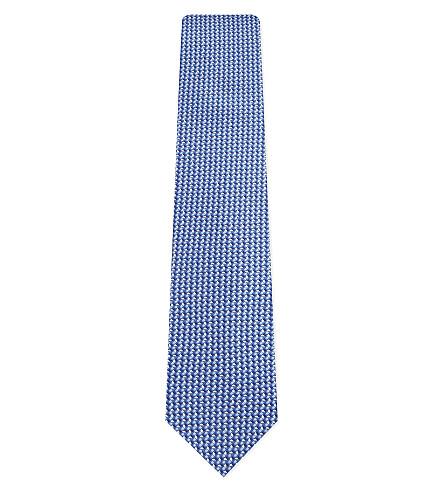 LANVIN Geometric print silk tie (Blue