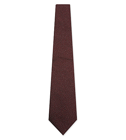 LANVIN Pebble weave silk tie (Burgundy