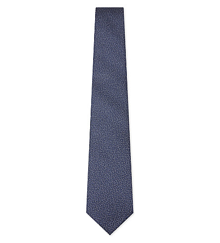 LANVIN Textured spotted silk tie (Blue