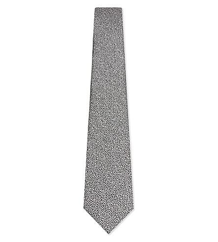 LANVIN Spot textured silk tie (Silver