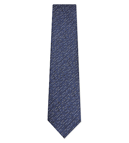 LANVIN Wave pattern print silk tie (Blue