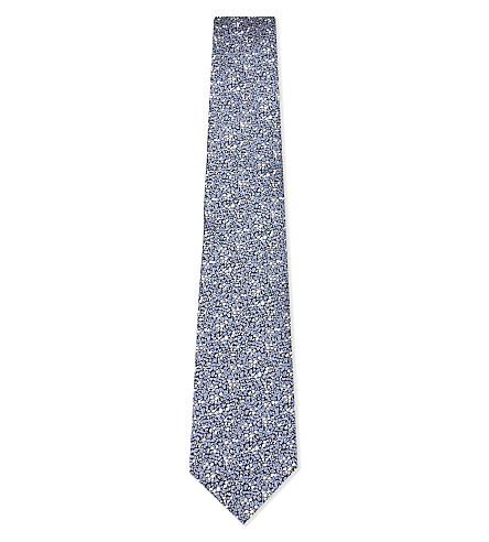 LANVIN Floral textured silk tie (Blue