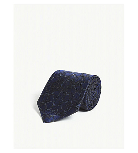 LANVIN Weave textured silk tie (Blue