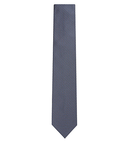 LANVIN Weave textured silk tie (Navy