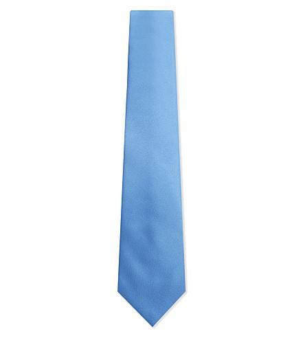 LANVIN Tonal metallic silk tie (Pale+blue