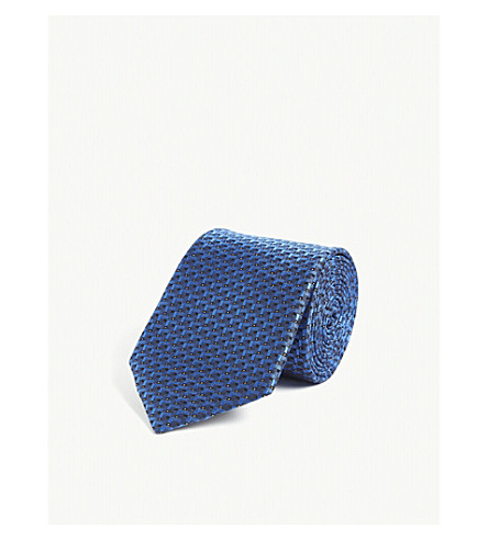 LANVIN Branch silk tie (Blue
