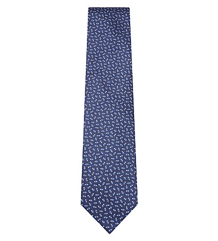 LANVIN Two-tone triangle silk tie (Blue