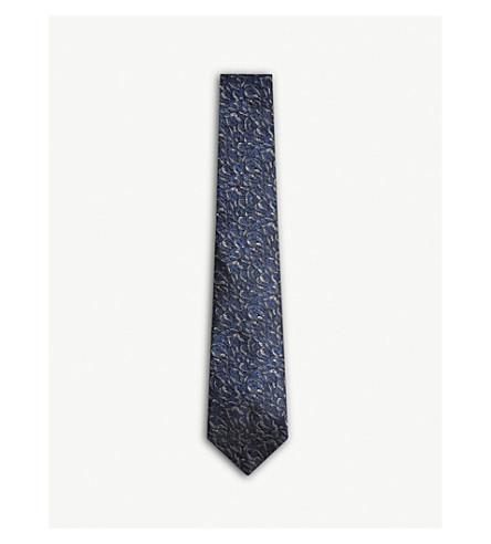 LANVIN Teardrop pattern silk tie (Navy