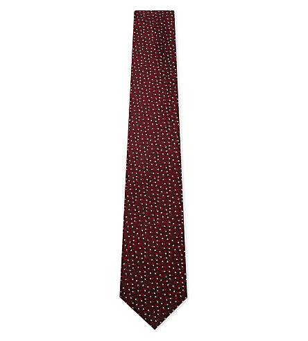 LANVIN Triangle print silk tie (Red