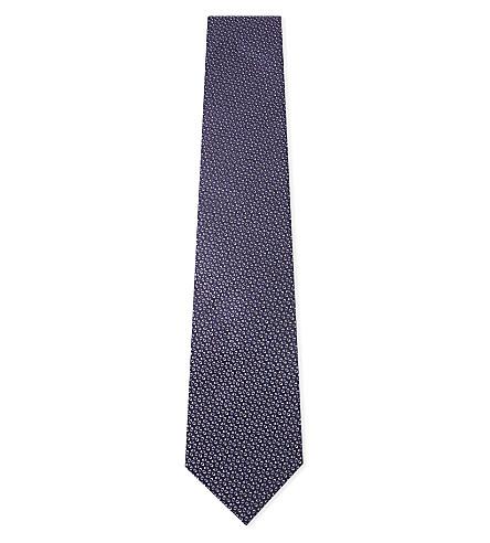 LANVIN Geometric print silk tie (Purple