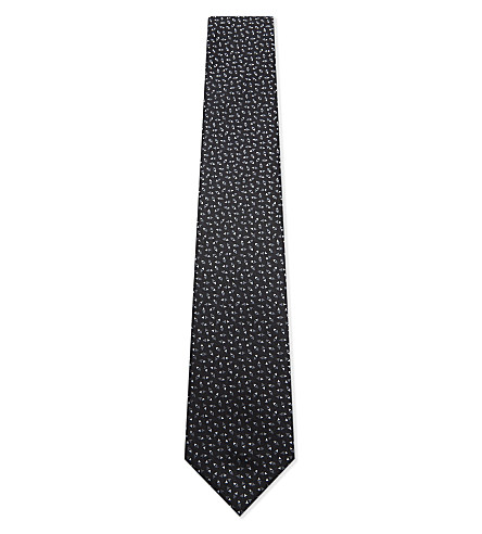 LANVIN Triangle print silk tie (Black