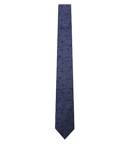 LANVIN Distressed tonal silk tie (Blue