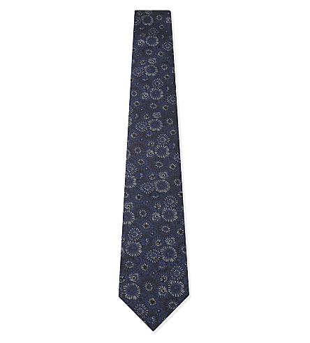 LANVIN Sunflower silk tie (Blue