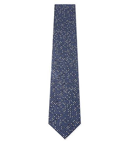 LANVIN Paint splash-patterned silk tie (Blue