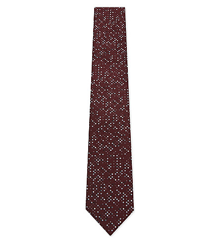LANVIN Multi-spot silk tie (Burgundy