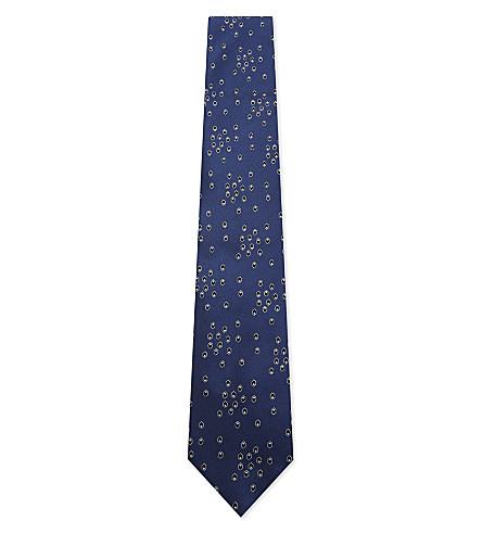 LANVIN Spotted dot silk tie (Blue