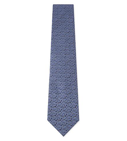 LANVIN Square-block pattern silk tie (Blue