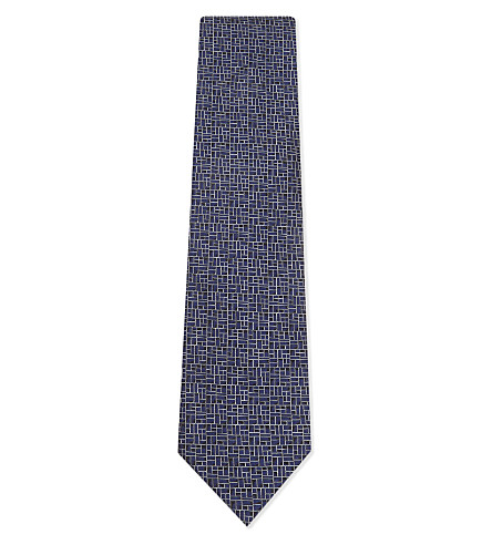 LANVIN Square-block pattern silk tie (Indigo
