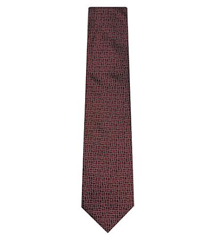 LANVIN Block pattern silk tie (Red